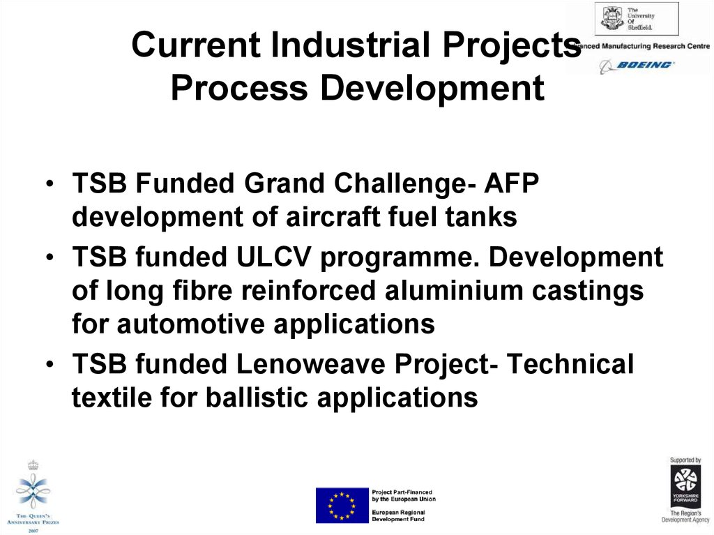 Current Industrial Projects Process Development