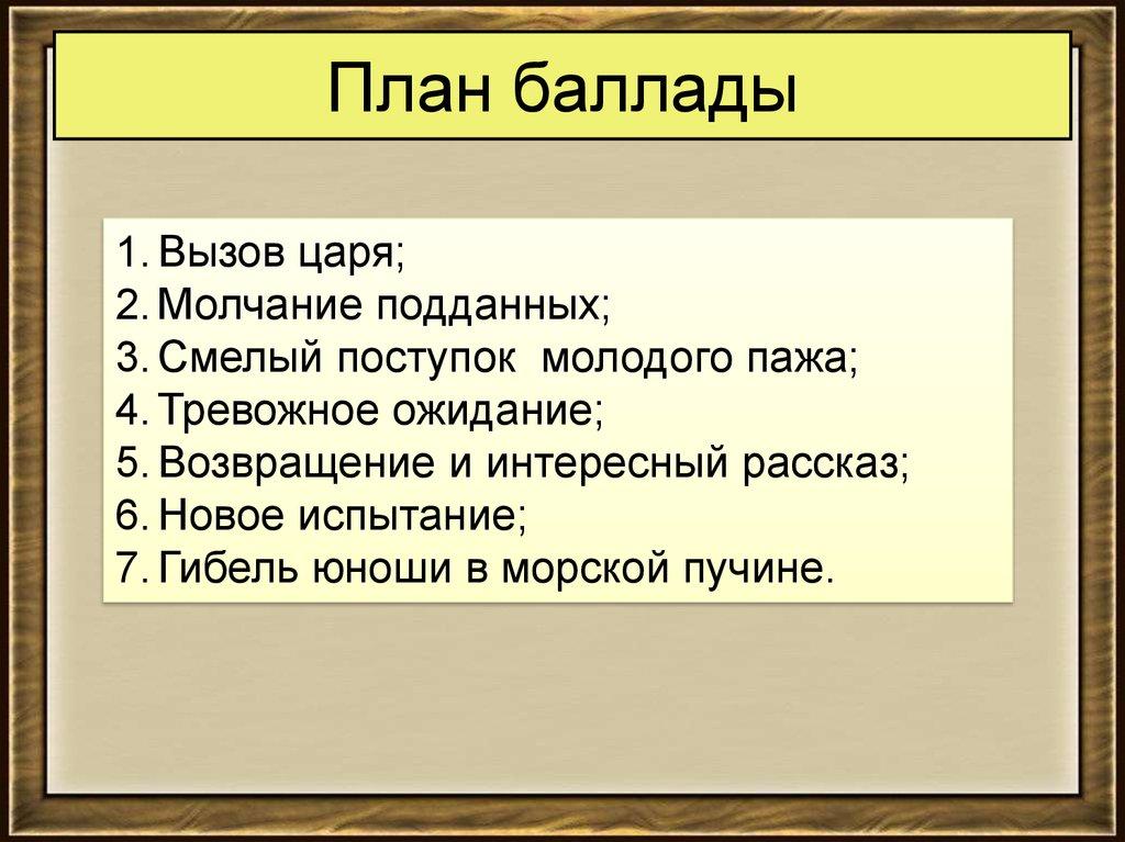 Гдз Литература 6 Класс В.а. Жуковский План Баллады Кубок