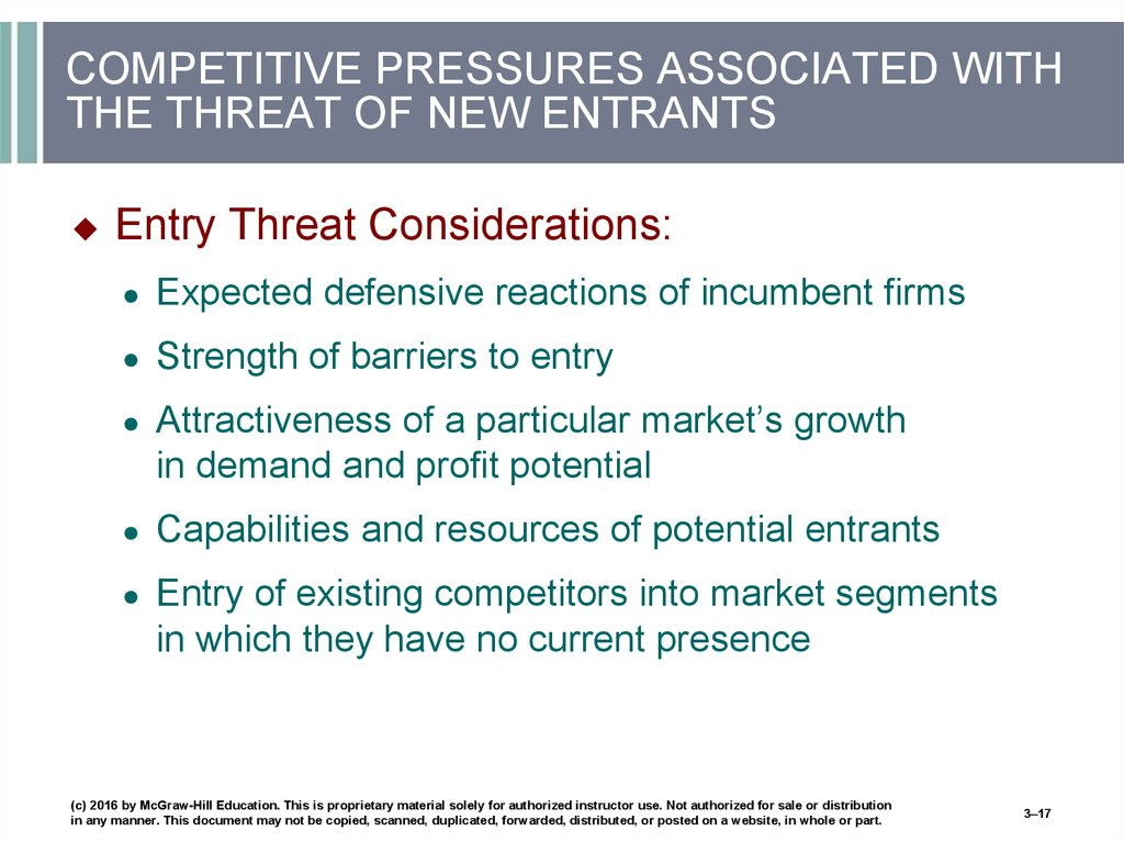 COMPETITIVE PRESSURES ASSOCIATED WITH THE THREAT OF NEW ENTRANTS