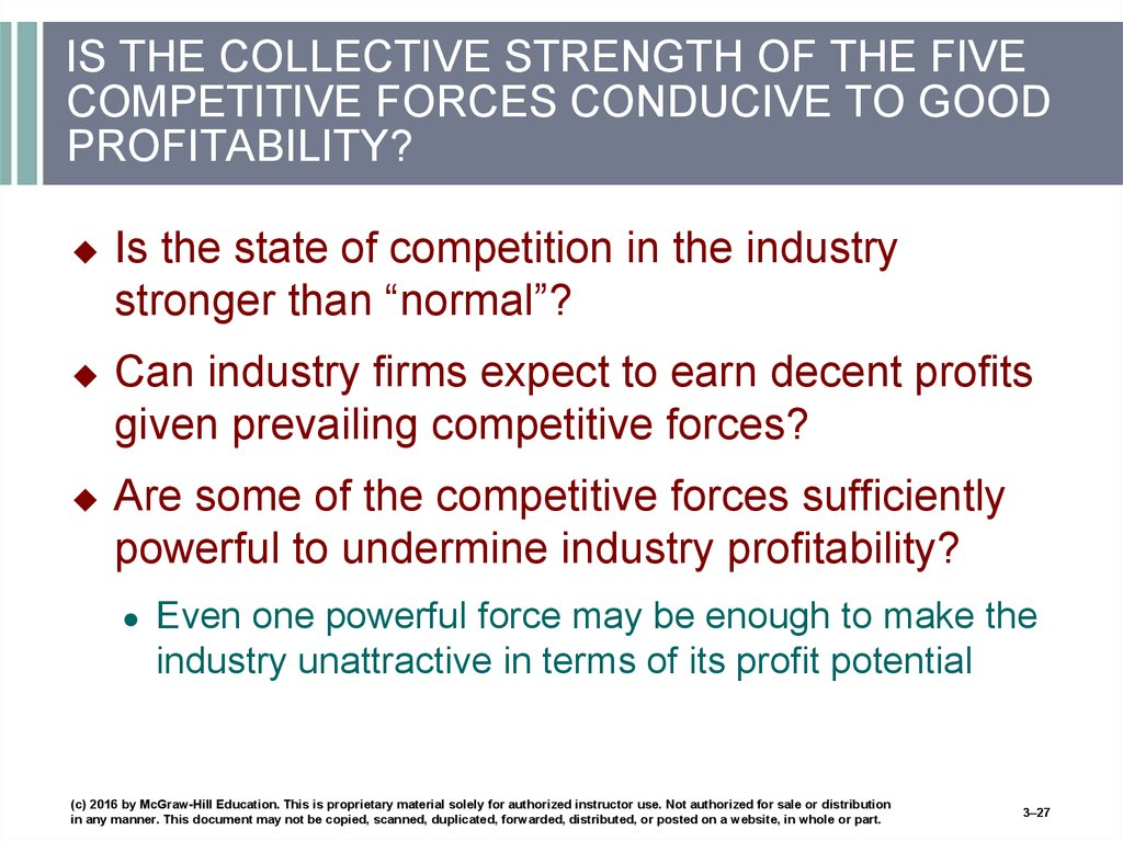 IS THE COLLECTIVE STRENGTH OF THE FIVE COMPETITIVE FORCES CONDUCIVE TO GOOD PROFITABILITY?