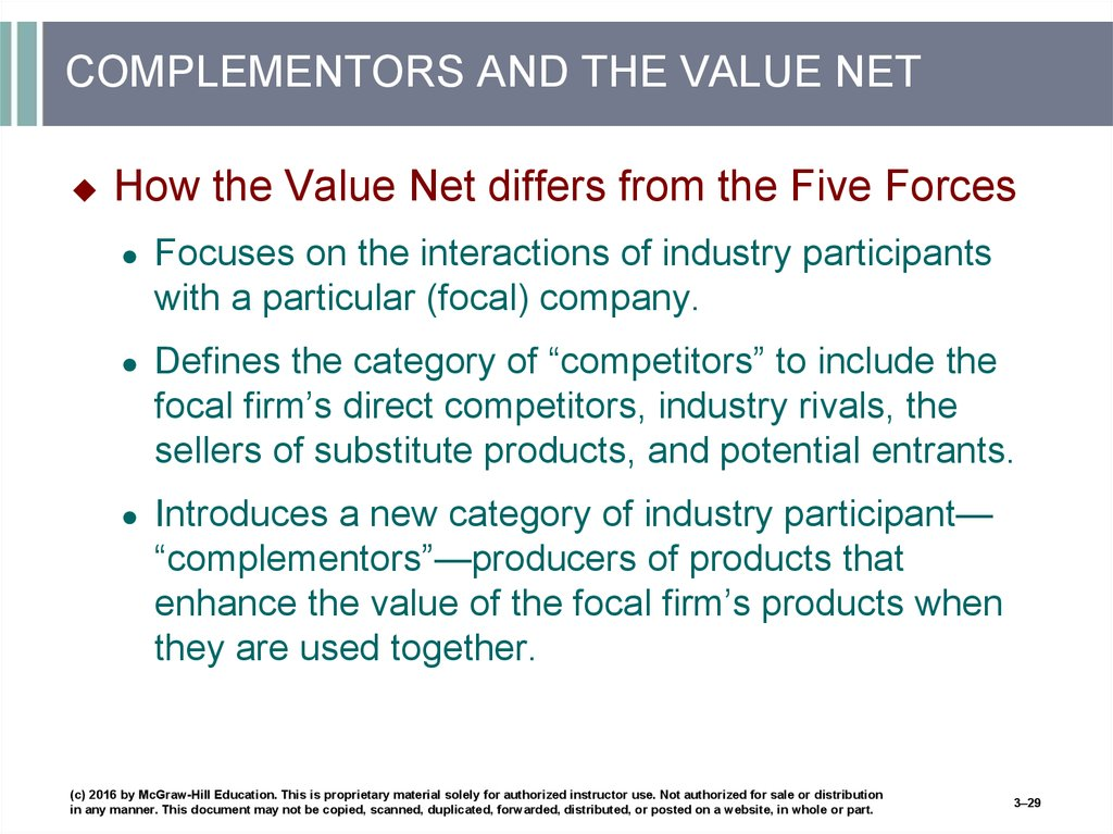 COMPLEMENTORS AND THE VALUE NET