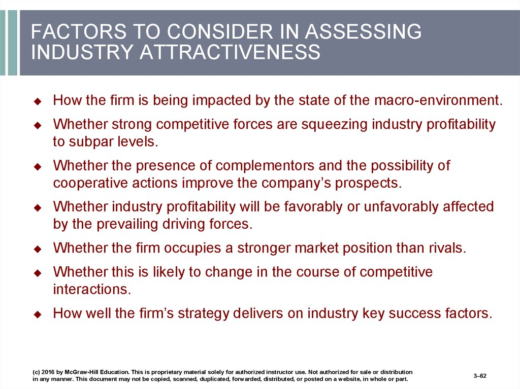 FACTORS TO CONSIDER IN ASSESSING INDUSTRY ATTRACTIVENESS