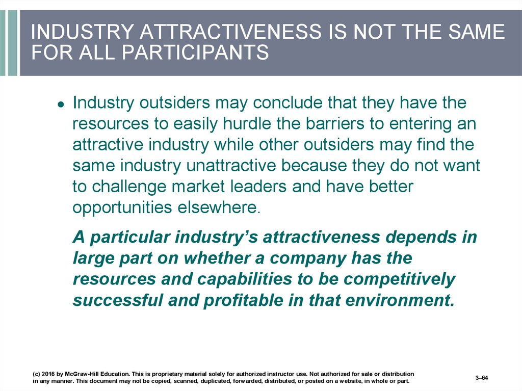 INDUSTRY ATTRACTIVENESS IS NOT THE SAME FOR ALL PARTICIPANTS