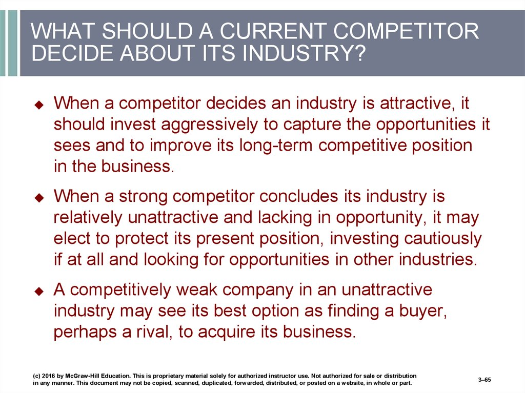 WHAT SHOULD A CURRENT COMPETITOR DECIDE ABOUT ITS INDUSTRY?