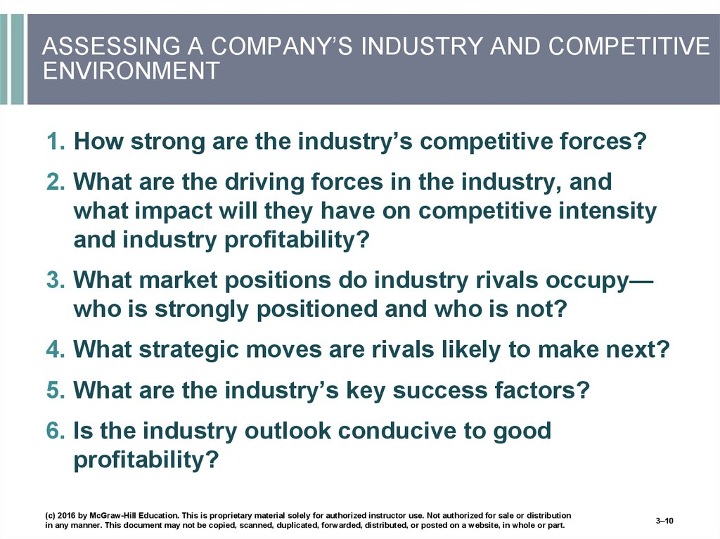 ASSESSING A COMPANY'S INDUSTRY AND COMPETITIVE ENVIRONMENT