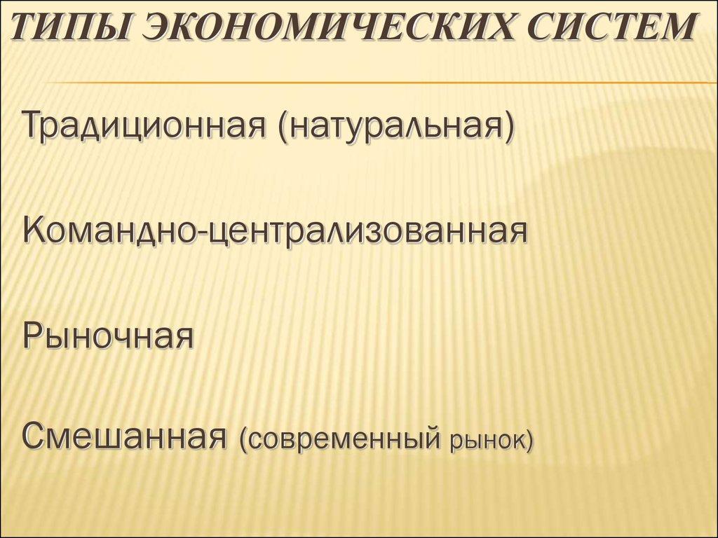 Типы экономических систем схема 847