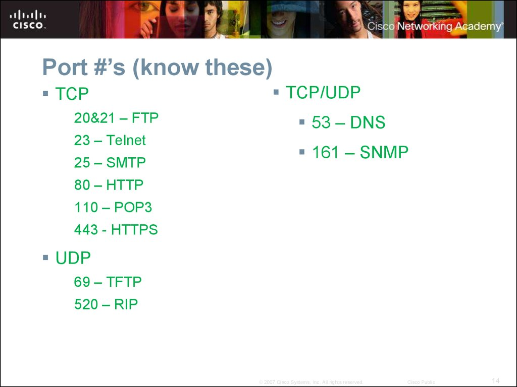 Port #'s (know these)