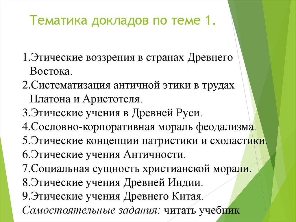 Темы докладов по этике 3913