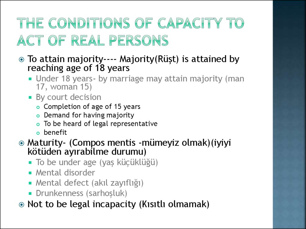 The CondITIONS OF CAPACITY to act OF REAL PERSONs