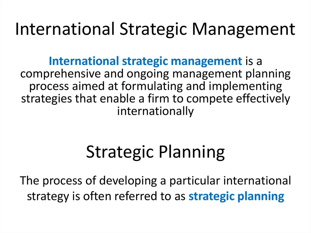 strategic mangement Strategic management is an oft-used and sometimes ill-understood concept in business it helps to consider the two words separately first strategies are the initiatives a company takes to.