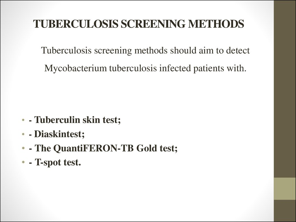 TUBERCULOSIS SCREENING METHODS
