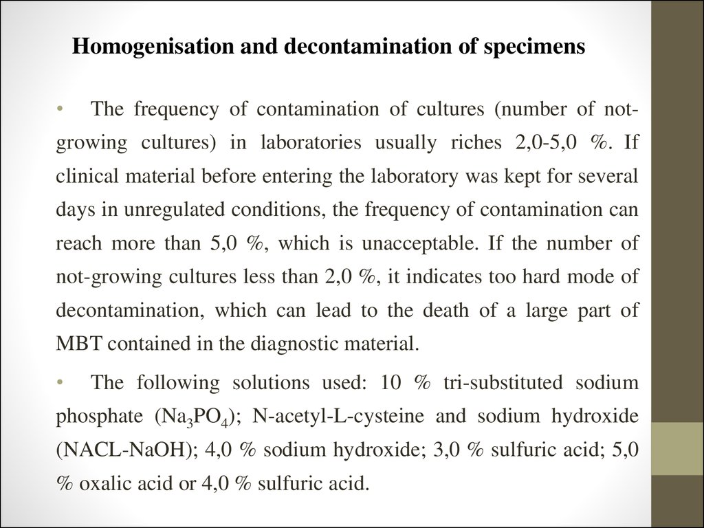Homogenisation and decontamination of specimens