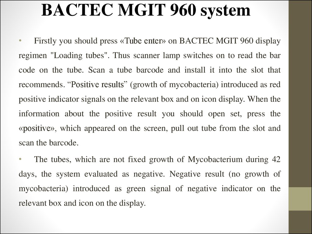 BACTEC MGIT 960 system