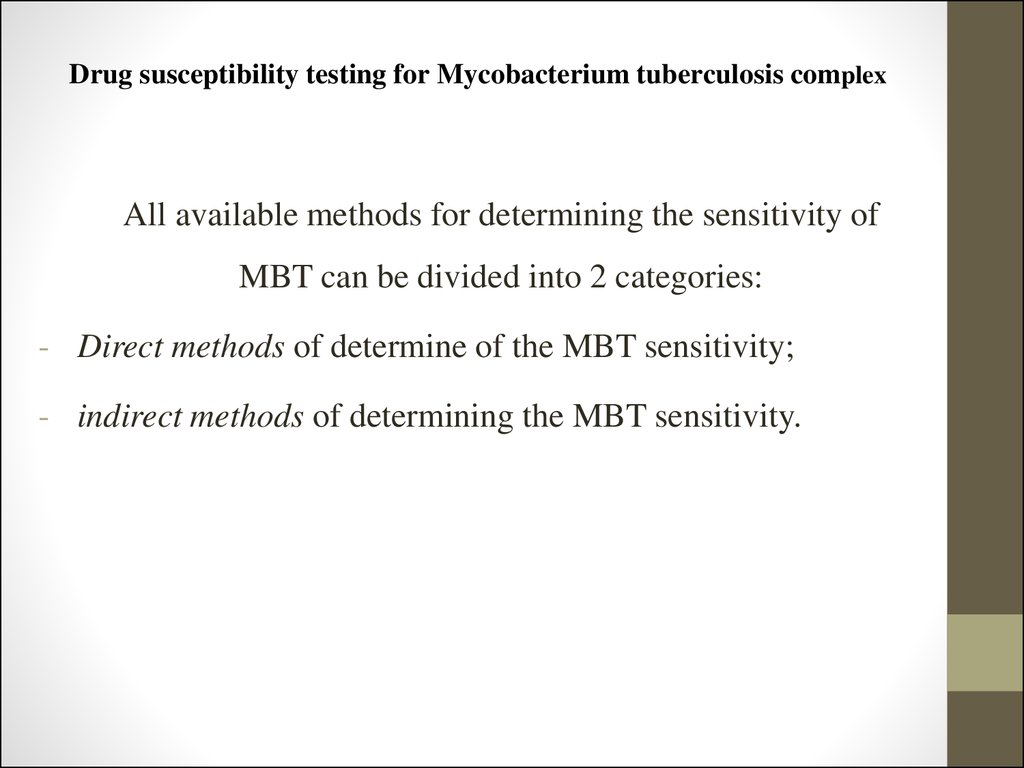 Drug susceptibility testing for Mycobacterium tuberculosis complex