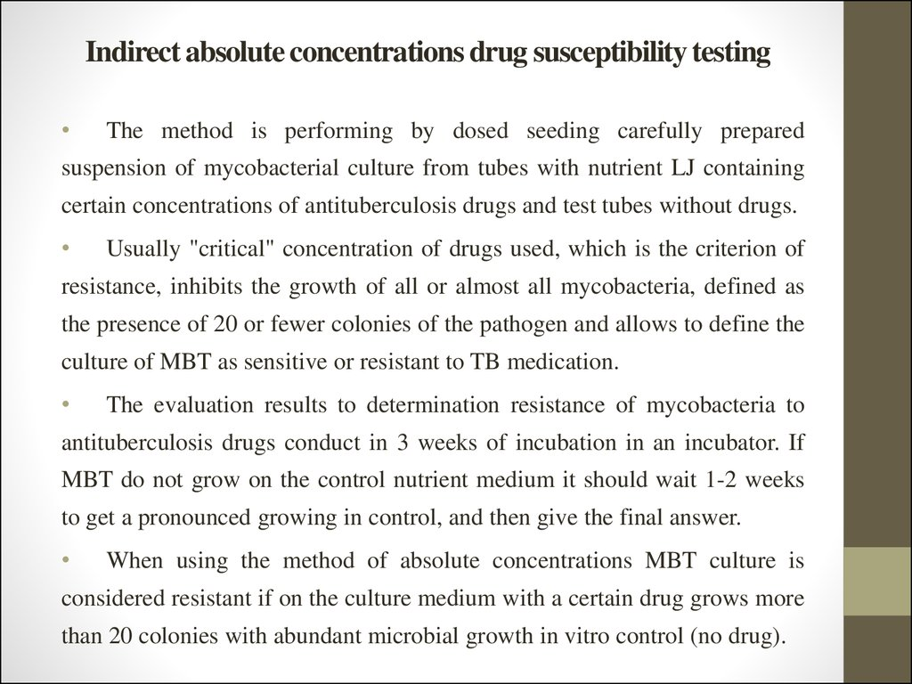 Indirect absolute concentrations drug susceptibility testing
