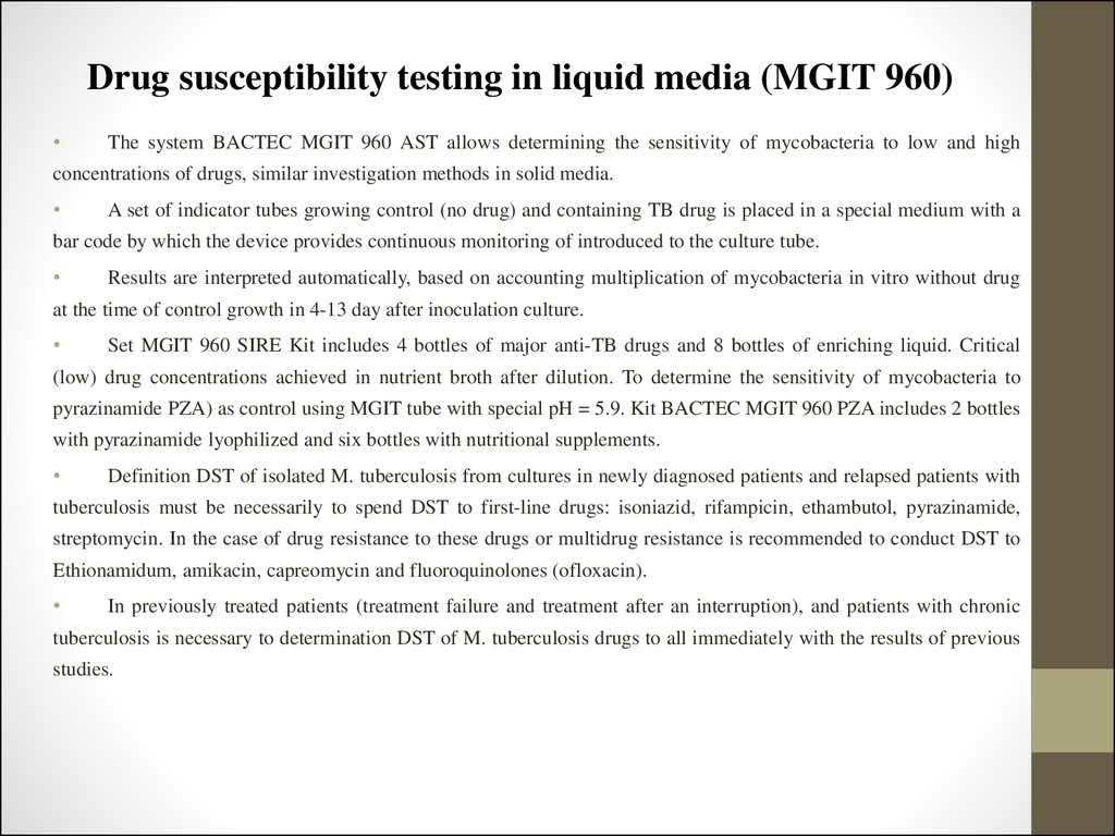 Drug susceptibility testing in liquid media (MGIT 960)