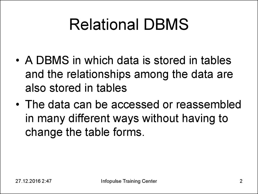 Relational DBMS