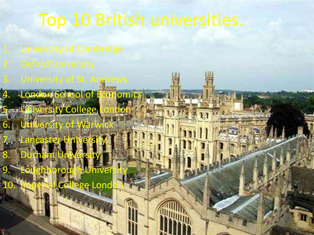 Top 10 British universities.