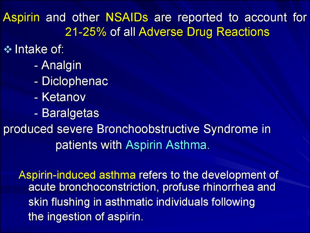 Aspirin and other NSAIDs are reported to account for 21-25% of all Adverse Drug Reactions