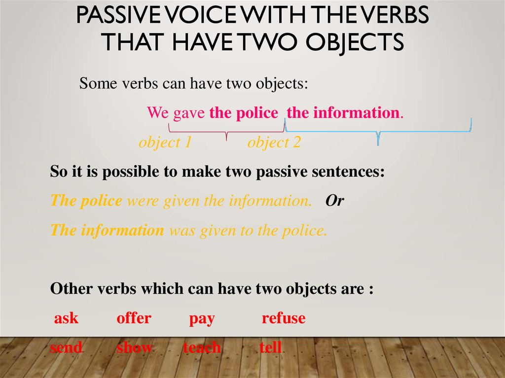 Passive voice with the verbs that have two objects
