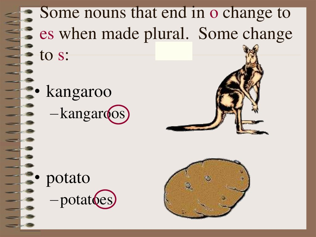 Some nouns that end in o change to es when made plural. Some change to s: