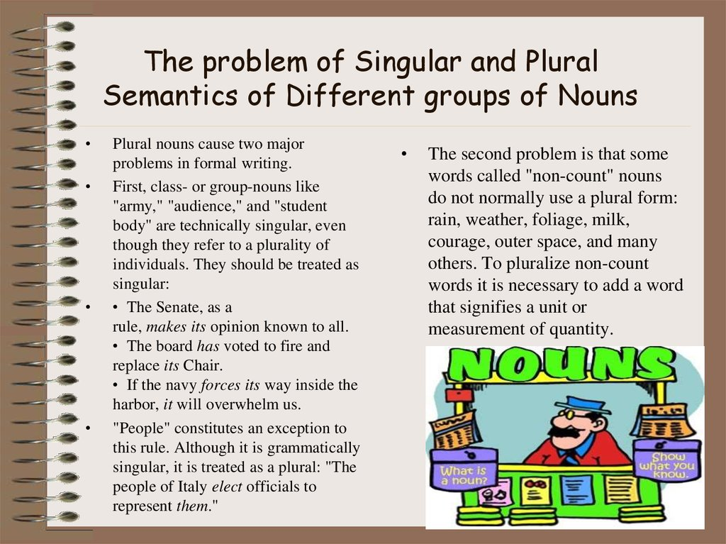 The problem of Singular and Plural Semantics of Different groups of Nouns