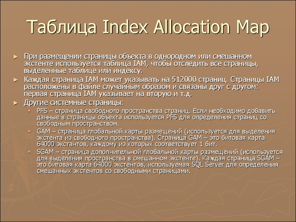 Таблица Index Allocation Map