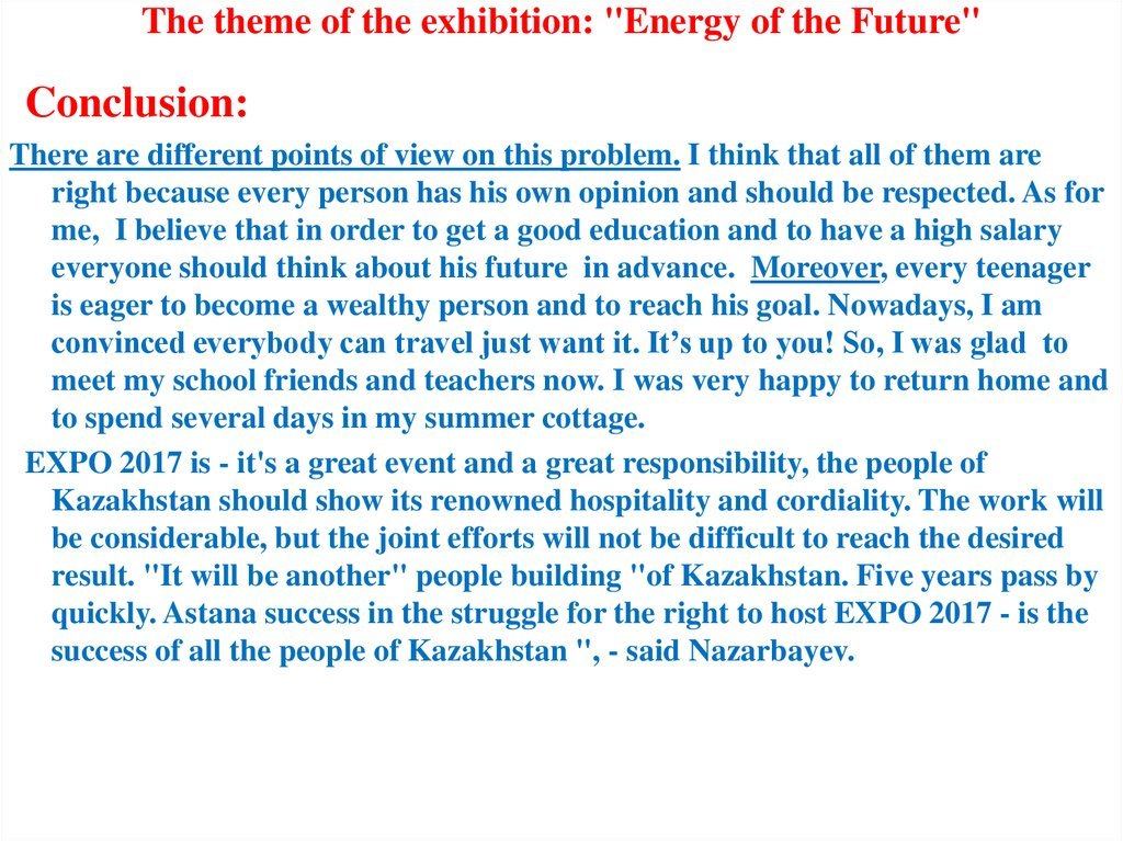 "The theme of the exhibition: ""Energy of the Future"""