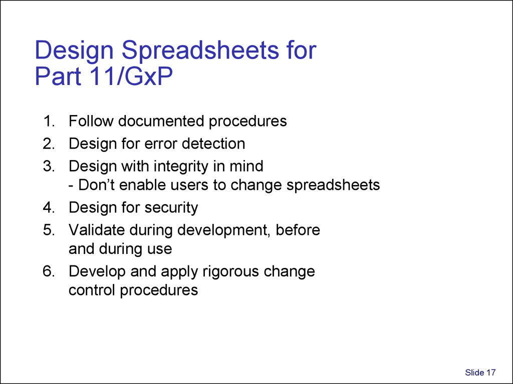 Design Spreadsheets for Part 11/GxP