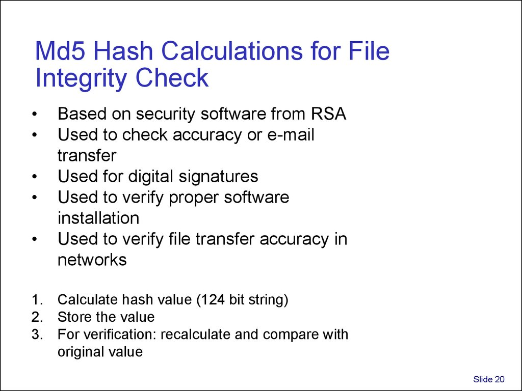 Md5 Hash Calculations for File Integrity Check