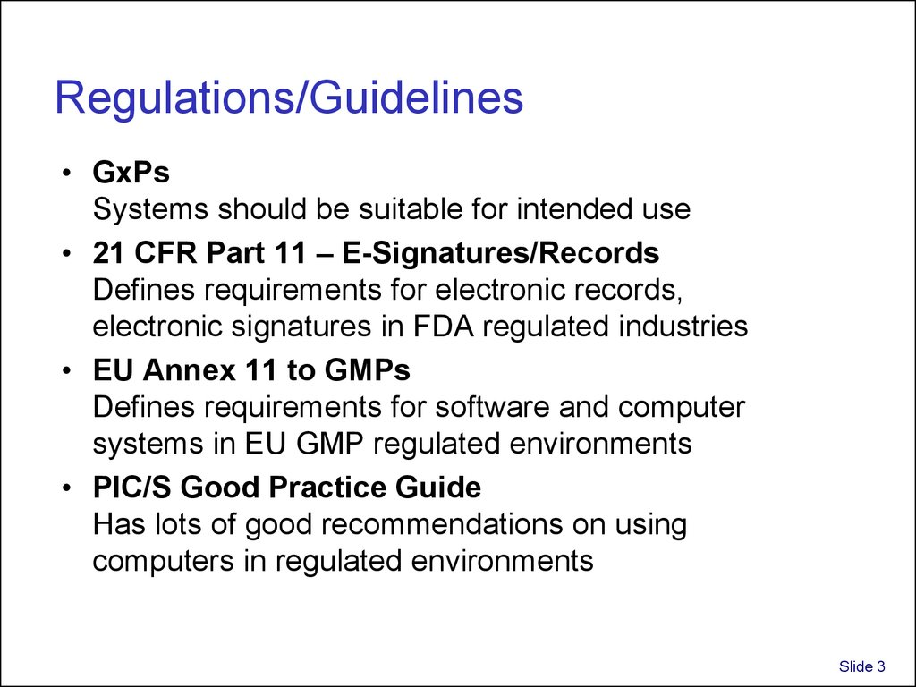 Regulations/Guidelines