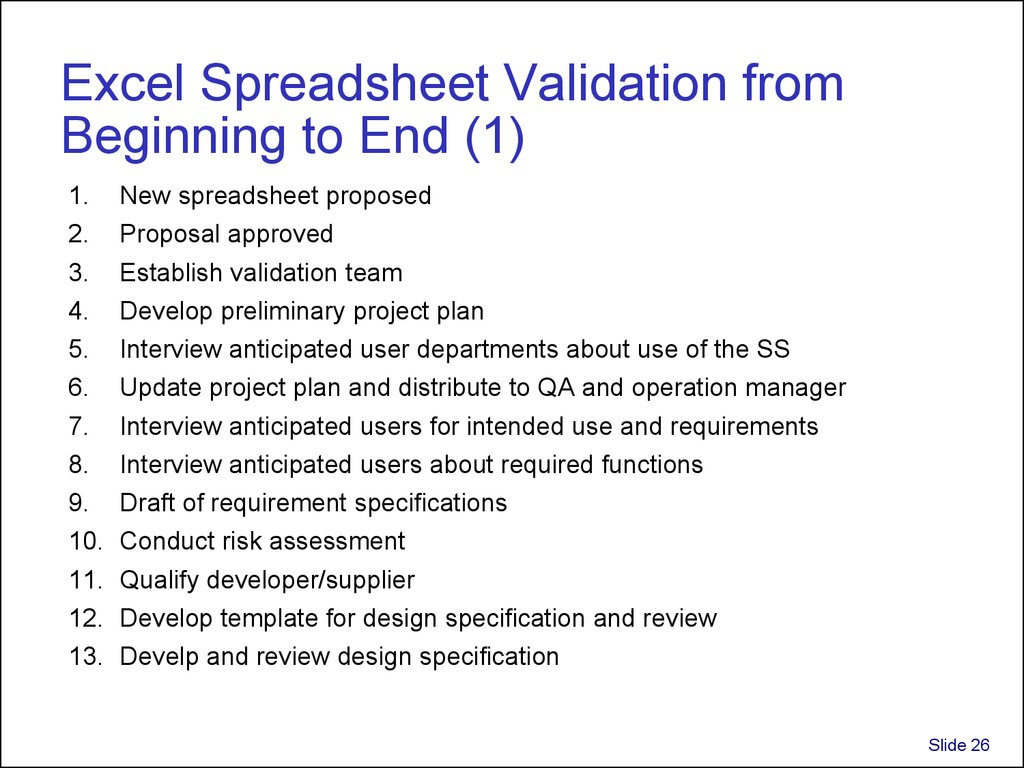 Excel Spreadsheet Validation from Beginning to End (1)