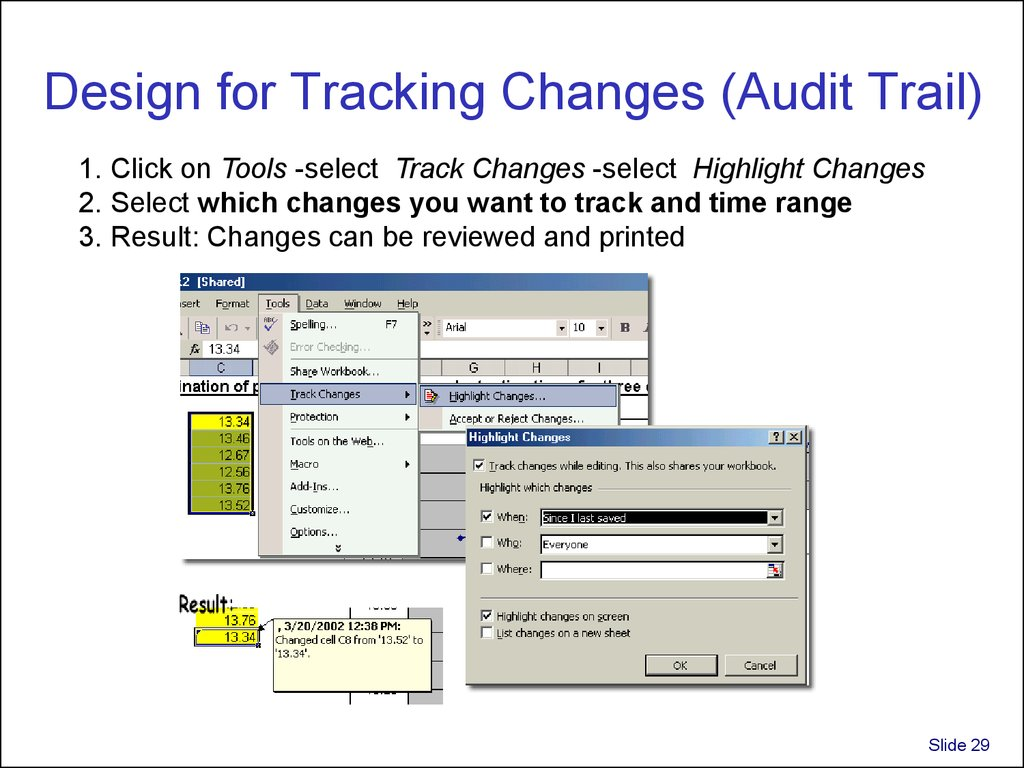 Design for Tracking Changes (Audit Trail)