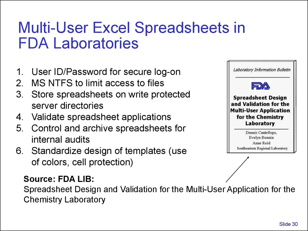 Multi-User Excel Spreadsheets in FDA Laboratories