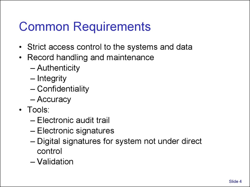 Common Requirements