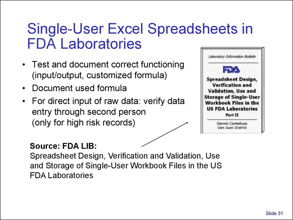 Single-User Excel Spreadsheets in FDA Laboratories