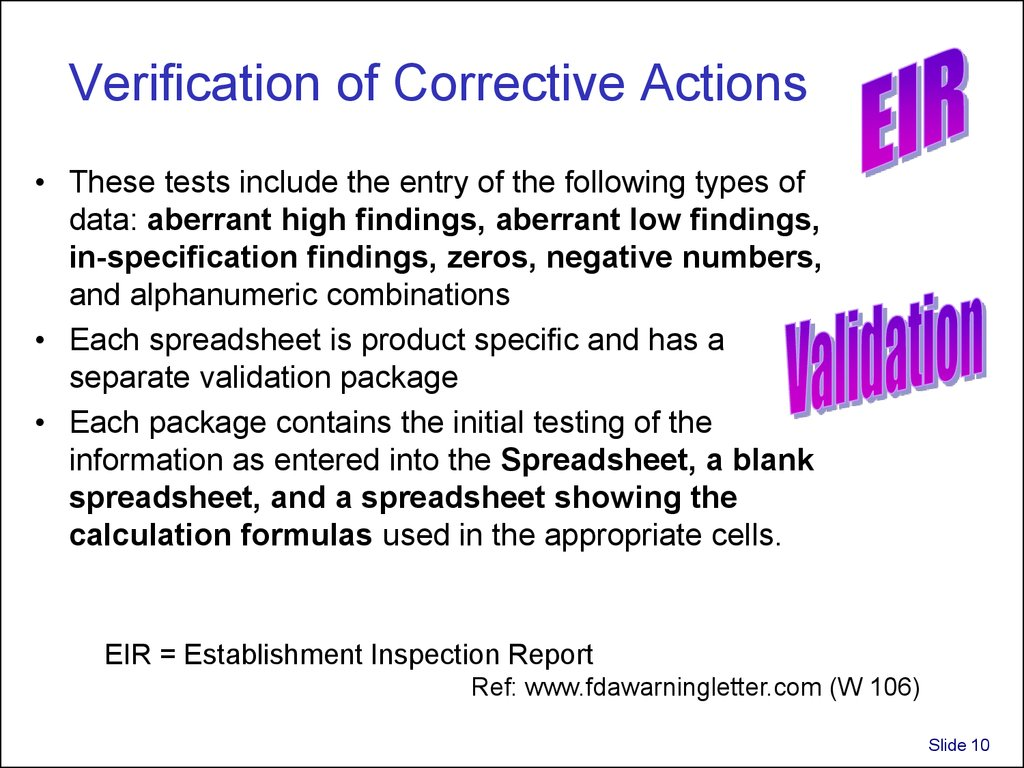 Verification of Corrective Actions