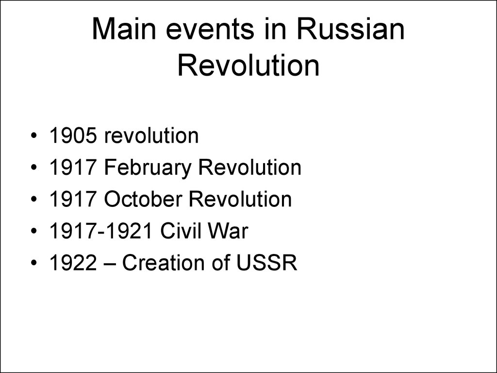 Main events in Russian Revolution