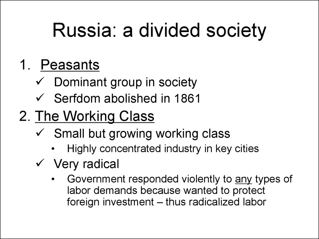 Russia: a divided society