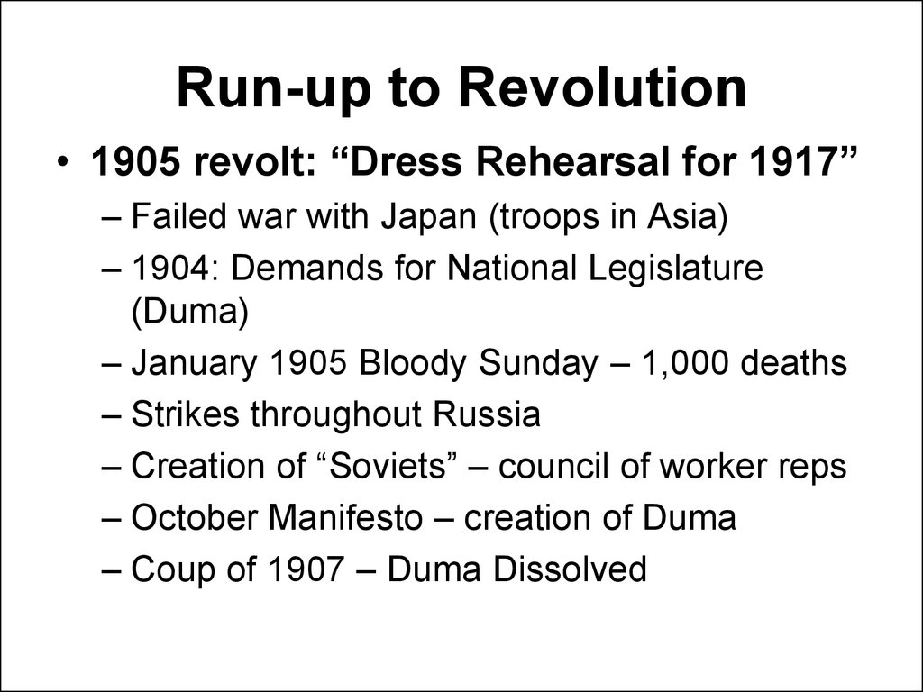 Run-up to Revolution