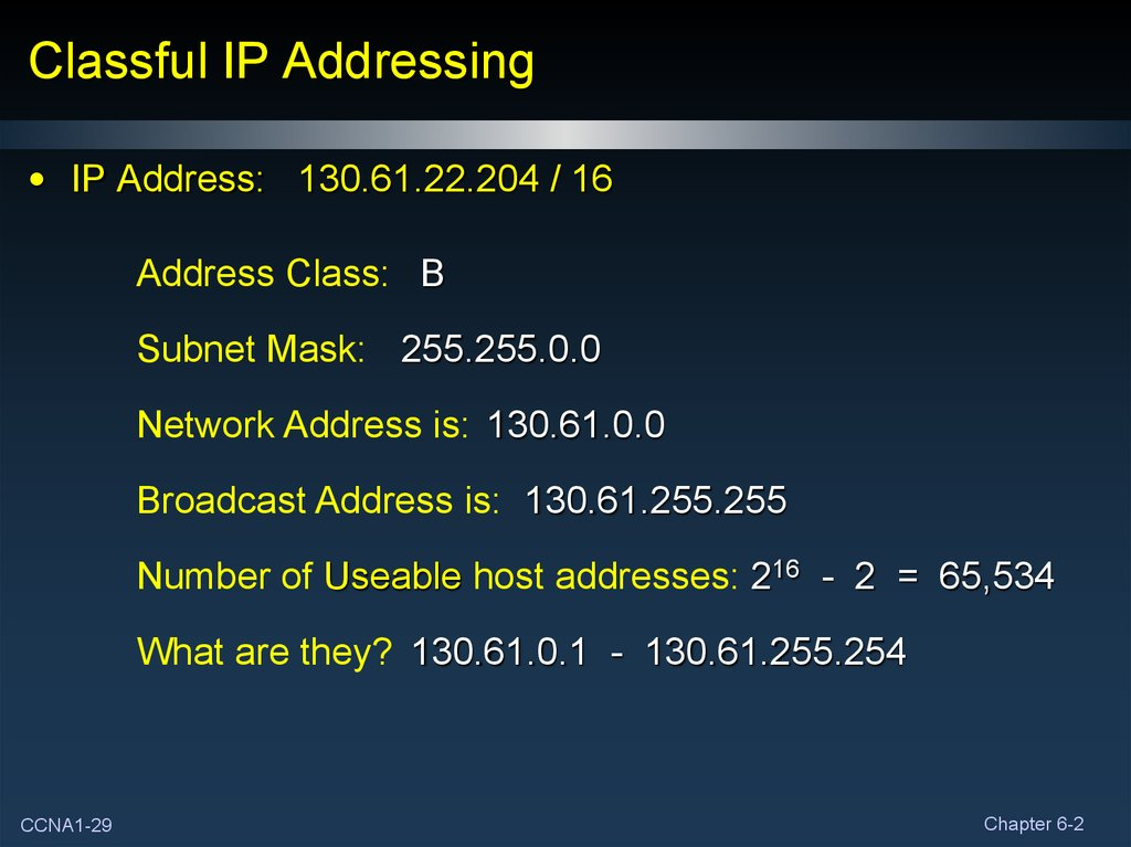 Addressing the Network - IPV4  Part II - online presentation