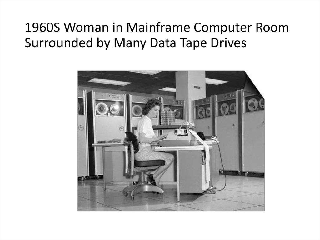 1960S Woman in Mainframe Computer Room Surrounded by Many Data Tape Drives