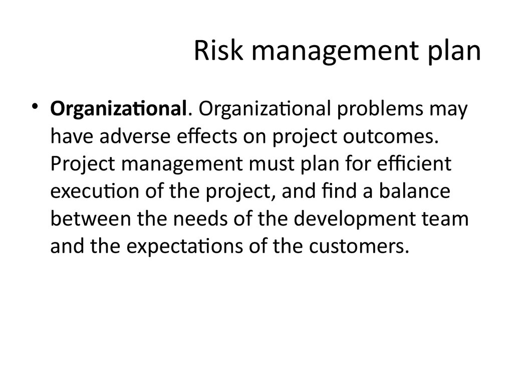 Risk management plan