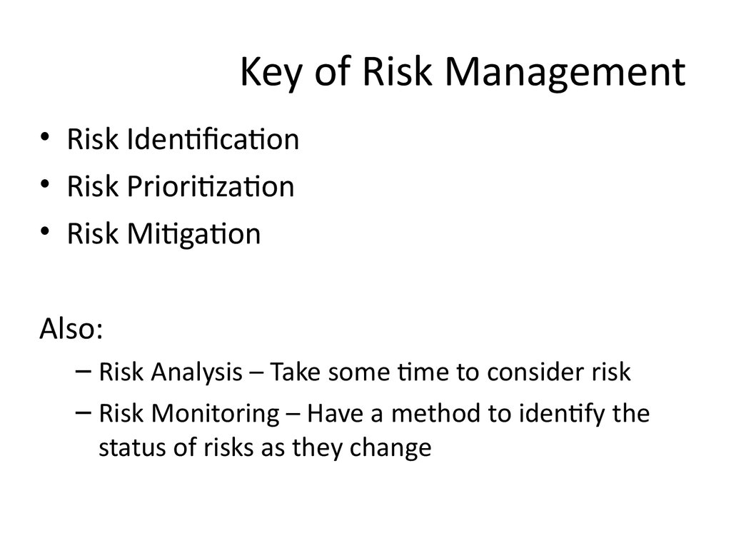 Key of Risk Management