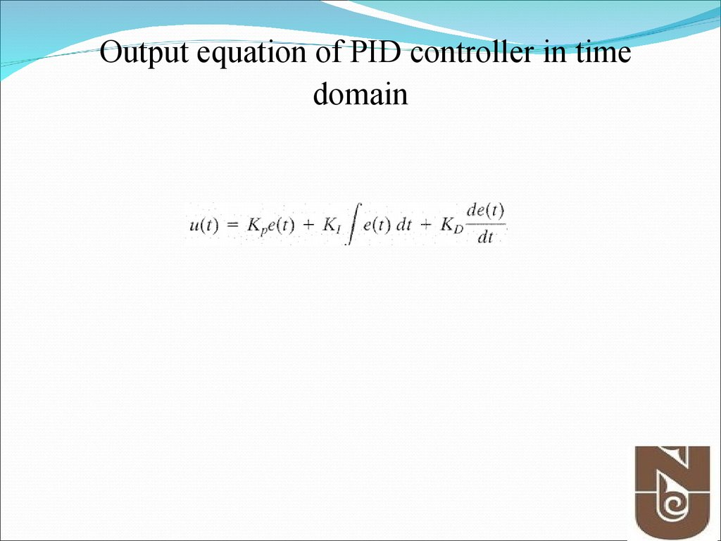 Output equation of PID controller in time domain