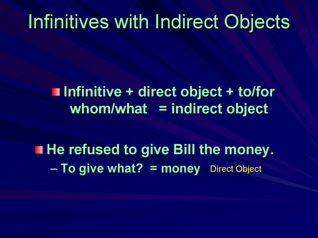 Infinitives with Indirect Objects