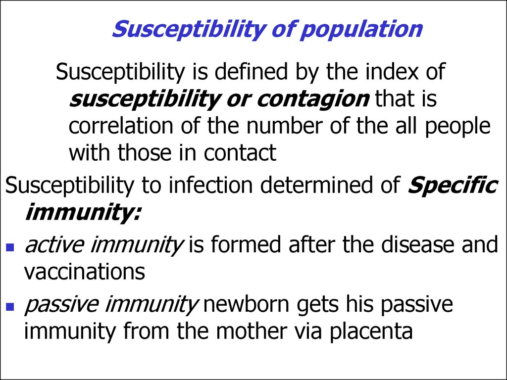 Susceptibility of population