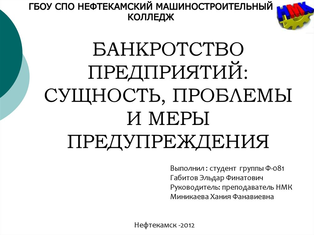 банкротство предприятия 2012