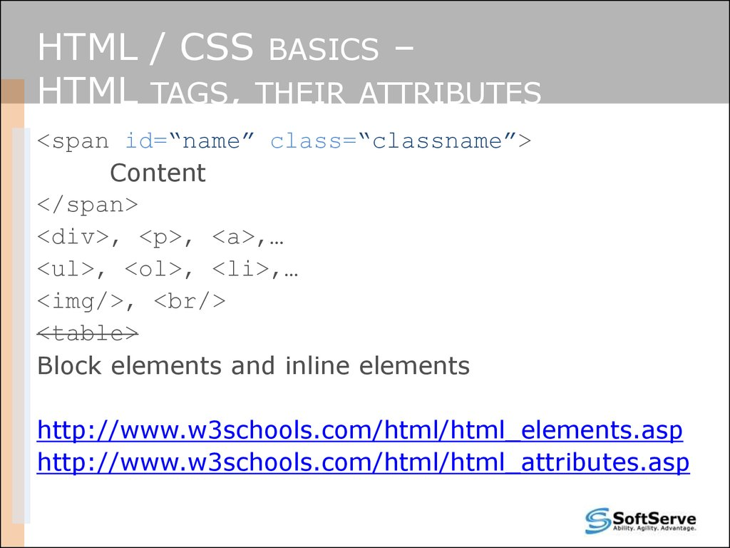 HTML and CSS  Site layout  Best practices - online presentation