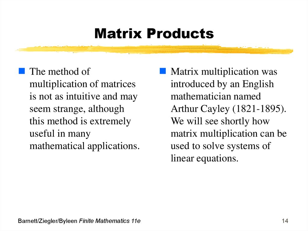 Matrix Products